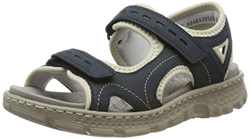 Rieker Damen 67866-14 Geschlossene Sandalen, Blau (Pazifik/Beige 14), 42 EU