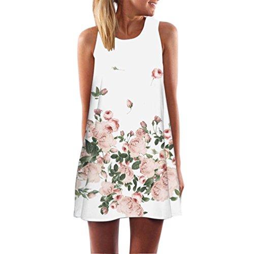 MRULIC Frauen Lose Sommer Weinlese Blumendruck Kurzschluss 3D Bild Minikleid Gerades Kleid mit Schmetterlinge Muster(B-Weiß,EU-40/CN-M) (Muster Stufenrock Mädchen)