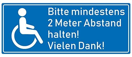 Behinderten Aufkleber 2 Meter Abstand - Schild Sticker Hinweisschild Warnschild Vorsicht Blau in 8 Größen (15x6cm Mehrfarbig) ()