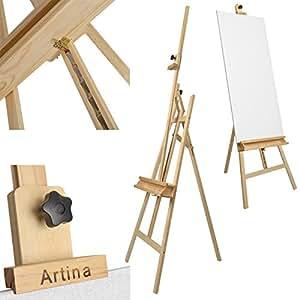 ARTINA® Cavalletto tripode per pittura Barcelona - legno massello e oleato di pino - per tele alte max. 120cm + mensola