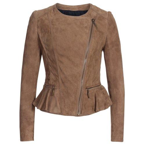Super in pelle morbida da donna giacca in velluto di capra Bike taglia XS a XL beige L