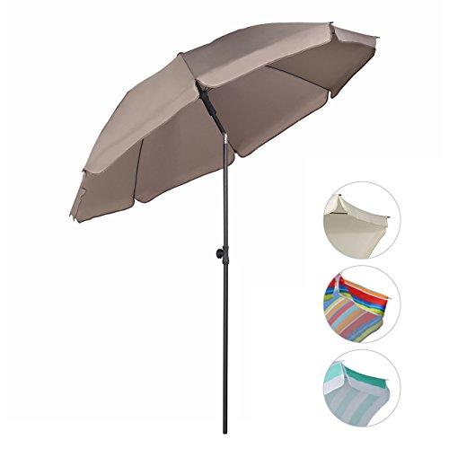 Sekey ombrellone Ø 200 cm tondo ombrello parasole da esterno da giardino da spiaggia taupe protezione solare uv25+