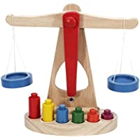 DDG EDMMS Juguete balanza Madera de los niños Tiene 6 Pesos, lo cual es Muy Adecuado para los niños Aprender.