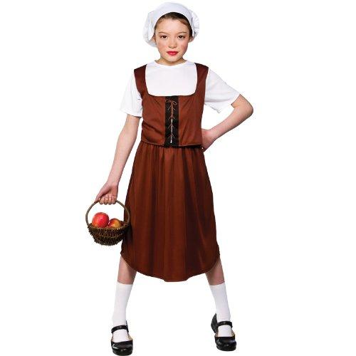 Wicked - costume di halloween da contadina, per ragazzina, taglia m 5-7 years (122-134cm)
