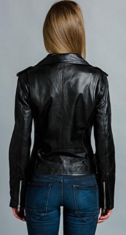Noir Urban Leather Blouson Perfecto r/étro pour femme en cuir nappa d/'agneau S