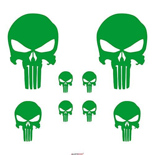 Autodomy Punisher Skull Aufkleber Paket 8 Stück für Auto oder Motorrad (Grün)