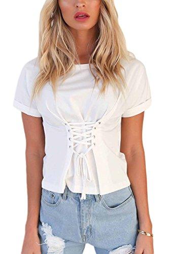 Frauen Im Sommer Heiße Lace up T - Shirt Kurze Ärmel Fest Drücken Die Top - Tee White XL (16 Tee Drücken)