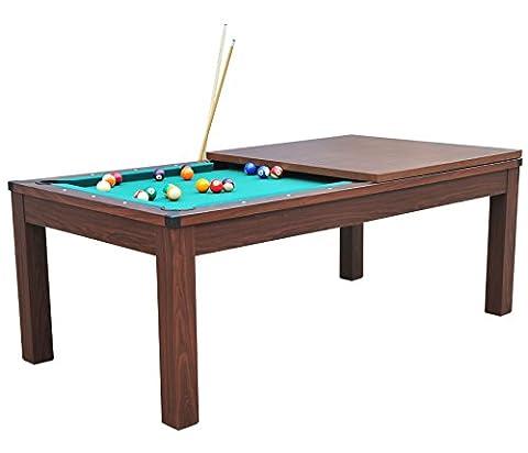 Pool Billard mit Tisch-Platte, 2 Satz Kugeln & Zubehör, Havane-Vert