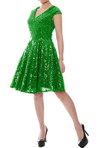 MACloth Women Cap Sleeve V Neck Sequin Short Bridesmaid Dress Formal Party Gown green