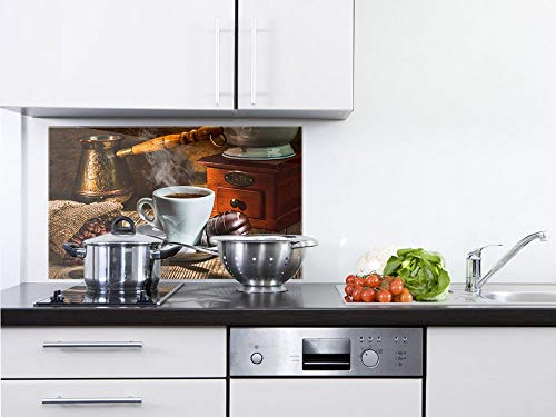 GRAZDesign Küchenrückwand Glas Braun - Küchen Spritzschutz Herd Kaffee Motiv - Küchenspiegel Kaffeetasse / 100x50cm
