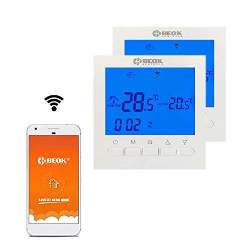 Beok BOT-313 WiFi-Thermostat Für Gaskessel, Programmierbar, LCD-Raumthermostat, Stromversorgung, Online-Steuerung über Smartphone, AC220V 3A, Weiß,Packung Mit 2
