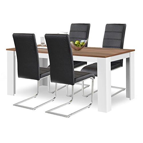agionda® Esstisch + Stuhlset : 1 x Esstisch Toledo 160 x 90 Nussbaum/Weiss + 4 Freischwinger Kunstleder PU schwarz