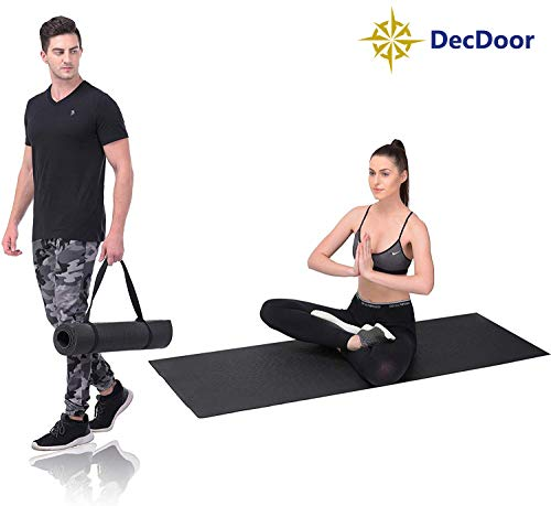 DecDoor Upgraded Yoga Mat with Carrying Strap Eco Friendly Non-Slip Exercise & Fitness, Workout Mat for All Type of Yoga, Pilates and Floor Exercises (6MM)
