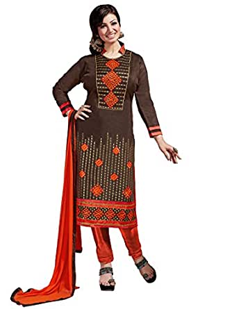 Varayu Women's Dress Material(334DJ5704_Brown and Orange_Free Size)