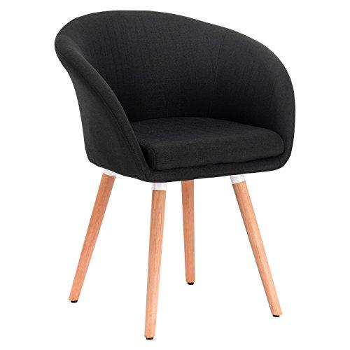 Woltu bh74sz-1 poltrona sedia sgabello sofa poltroncina con schienale braccioli stoffa lino gambe legno moderno nero