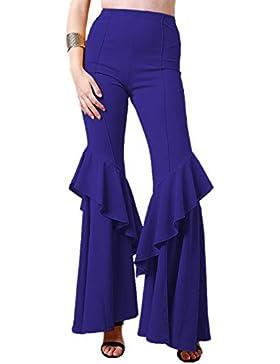Pantalones largos de cintura alta con estampado de volantes de cintura alta de Honghu