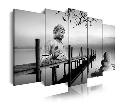 DekoArte 19 - Cuadro moderno de Buda en embarcadero, lienzo de 5 piezas, 150 x 80 cm, color blanco y negro