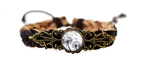 miss-lovie-damen-lederarmband-vintage-style-flechtarmbander-pusteblume-natur-schwarz-weiss