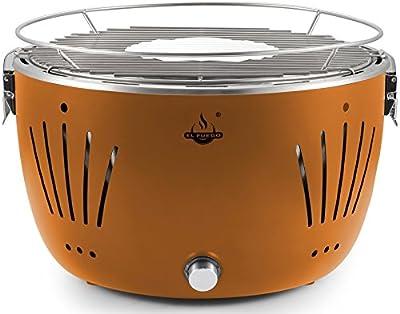 El Fuego Holzkohlegrill Tulsa Grill BBQ Barbecue, Farbe Orange, USB-Anschluss, Batterie, Rauchfreies Grillen, inkl. Tragetasche AY 5253
