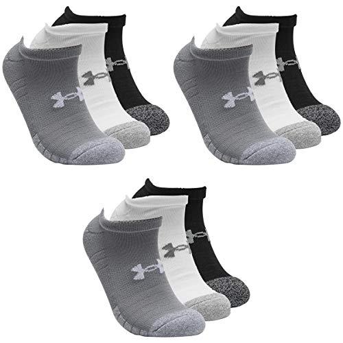 Under Armour 9 Paar HeatGear No Show Sneaker Socken Unisex Kurzsocke, Farbe:Greymix 3399, Socken & Strümpfe:42-47