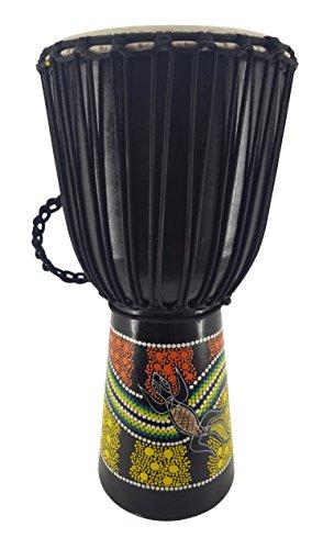 60cm Profi Djembe Trommel Bongo Drum Buschtrommel Percussion Motiv Buntes Muster Gecko Bemalt - ( Sehr gute Trommel für den Anspruchsvollen Trommler )