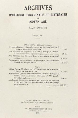 Archives d'histoire doctrinale et littéraire du Moyen-Age. : Tome 69