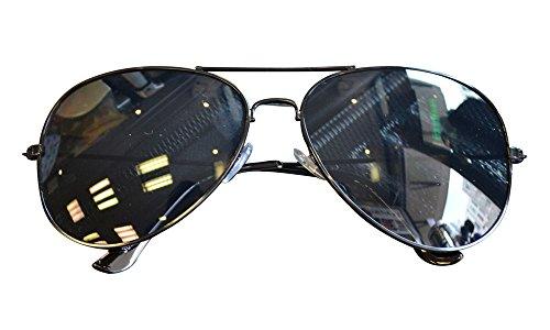 Pilotenbrille Verspiegelt Fliegerbrille Sonnenbrille Pornobrille Brille 12 Farben (Schwarz Rahmen)