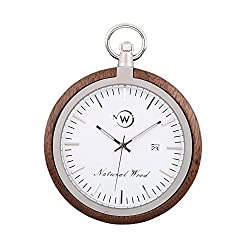 Original Wood Pocket Watch, Kwock Swiss Quartz Movement Stainless Steel Chain Natural Wooden Case Man Pocket Watches Best Gift for Birthday Holiday (Black Walnut)