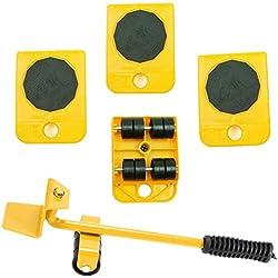 Wefond 1 ensemble d'outils pour soulever et déplacer un élévateur de meubles pour soulever des meubles et des équipements lourds, 1 tige de levage et 4 galets de déménagement (Jaune)