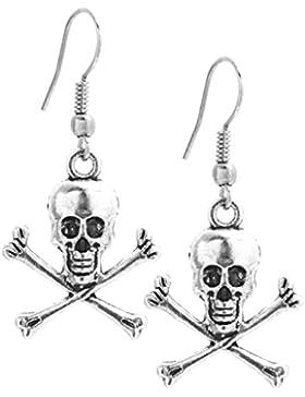 2LIVEfor Ohrringe Schädel Ohrringe Gothic Silber Antik Ohrringe Totenkopf Ohrringe Knochen hängend Ohrringe Punk...
