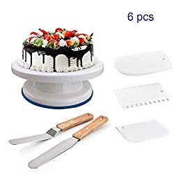 TYI Revolving Cake Stand Cake Turntable Angled Icing Spatula and 3 Comb Icing Smoother Silicon Spatula and Cake Server/Cutter Baking Cake Decorating Supplies