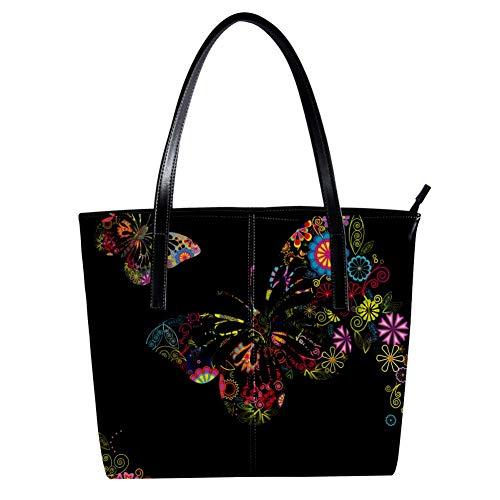 Women's Bag Shoulder Tote handbag with Floral Butterflies Designs Print Zipper Purse PU Leather Top-handle Zip Bags -