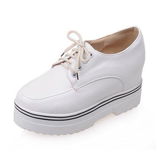 AllhqFashion Femme Pu Cuir à Talon Haut Rond Lacet Chaussures Légeres Blanc