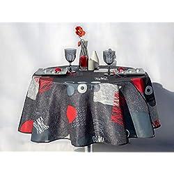 villagesdeprovence.net Nappe de Table Lune Grise rectangulaire ou Ronde - Anti Taches - 100% Polyester (Tissu) (160 cm de diamètre, Gris)