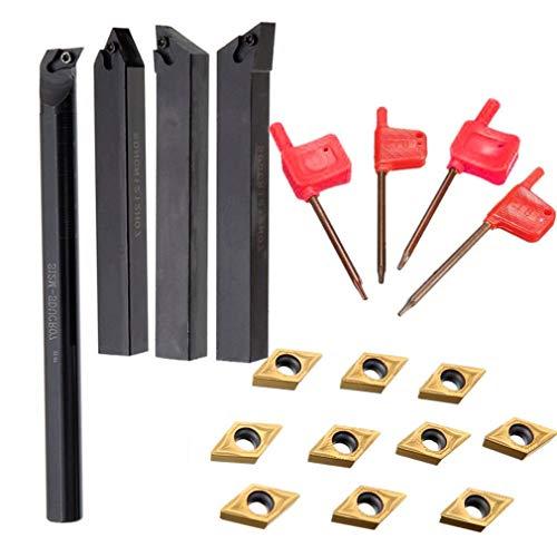 VHNVHN 4pcs Chiavi portautensili per barenatura 10pcs Utensili per tornio con Inserto in Metallo Duro