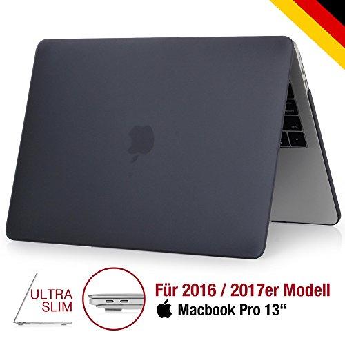 DEUTSCHE MARKE: Macbook PRO 13 Case schwarz matt | Ultra Slim & PREMIUM Qualität | Mit hochwertiger Soft-Touch Beschichtung | 2016 & 2017 mit/ohne Touchbar | Hülle Hard-Cover Zoll | black Hardcase Hartschale Plastik