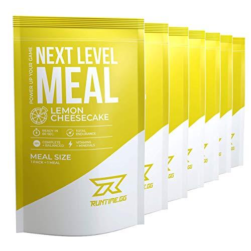 Runtime Next Level Meal Lemon Cheesecake - vollwertiger Mahlzeitersatz für langanhaltende Sättigung, Energie, Konzentration und Leistungsfähigkeit, mit Vitaminen und Nährstoffen, 7 x 150g