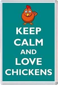 Keep Calm and Love Chickens / Chicken - Novelty Jumbo Fridge Magnet Gift/Souvenir/Xmas Christmas Present