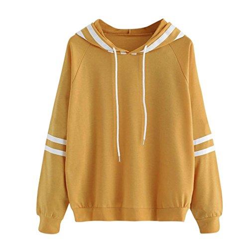 Langarm Damen Hoodie Sweatshirt mit Pullover Tops Bluse Stickerei Kapuzen von (M, Gelb-) (Gelb-wolle Pullover)