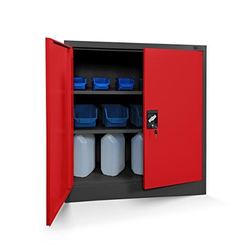 Kleiner Aktenschrank C001B Büroschrank mit Flügeltüren Metallschrank Lagerschrank Pulverbeschichtet Stahlblech Abschließbar 92,5 cm x 90 cm x 40 cm (H x B x T) (anthrazit/rot)