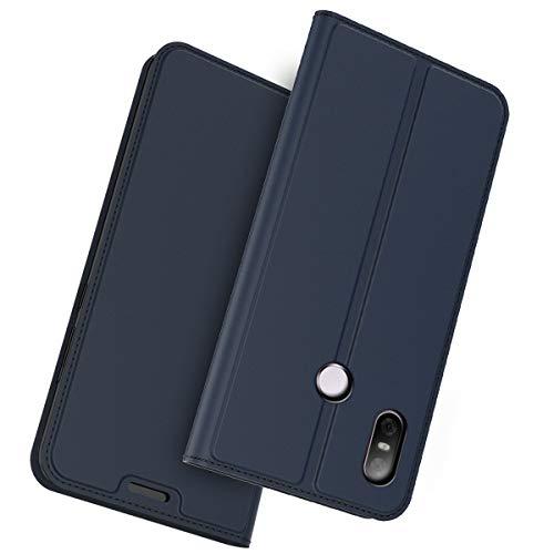 BasicStock HTC U12 Life Leder Hülle, Premium PU Ledertasche etui Schutzhülle Tasche mit Ständer Slim Flip Case für HTC U12 Life(Blau)