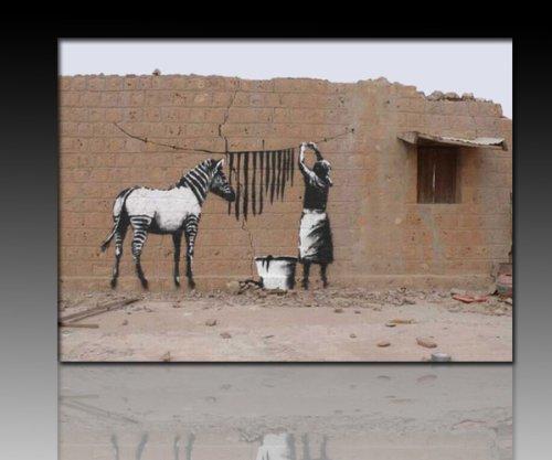 Druck auf leinwand 'Banksy' Graffiti - Bild 60x40cm 'Zebra' ! Bild fertig auf Keilrahmen ! Pop Art...