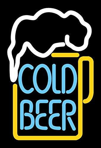 Cartel de Chapa genérica 20 x 30 cm Cold Beer Neon Cerveza Cartel Tin Sign
