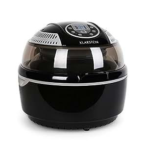 Klarstein VitAir • friggitrice ad aria • 1400 Watt • camera cottura 9 L • grill • tostatura • riscaldatore alogeno a infrarossi • programmi automatici • display LCD • strato antiaderente • nero