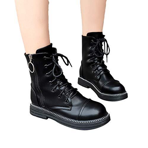 OSYARD Damen Ankle Booties Flache Leder Boots,Stiefeletten Schnürstiefelett Frauen Vintage Lace-Up Zip Shoes Runde Zehe Schuhe Rutschfeste Kurze Tube Stiefel(240/39, Schwarz)