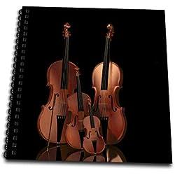 3dRose - Bloc de Notas de violín, bajo y celofán, 4 por 4 Pulgadas (db_200920_3)