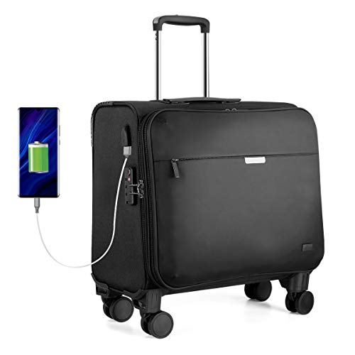 Hanke 18 Zoll Business Koffer Laptop Trolley Reisekoffer mit Abnehmbare Rollen, TSA-Zollschloss, USB-Ladeanschluss, Laptop Fach für Dienstreise Büro Herrn Frau Schwarz
