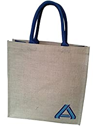 Pooja Bags Jute Shopping Bag A-Alphabet Printed Set Of 2 PCs (Blue, Size: 12*14*6 Inches)