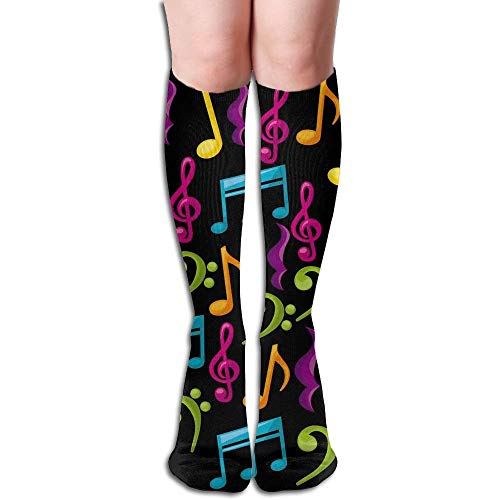 Tyueu Unisex Knee High Long Socks Music Notes Video Over Calf Casual Sport Stocking Cotton Lange Socken