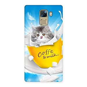 Delighted Kitty Coffee Multicolor Back Case Cover for Huawei Honor 7